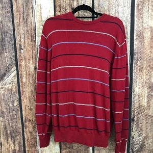 Izod Red Striped Long Sleeve Pullover XL